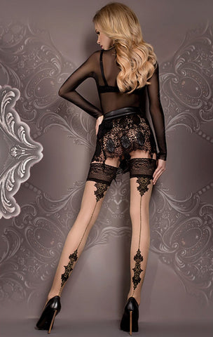 Ballerina 419 Hold ups - Black and Skin