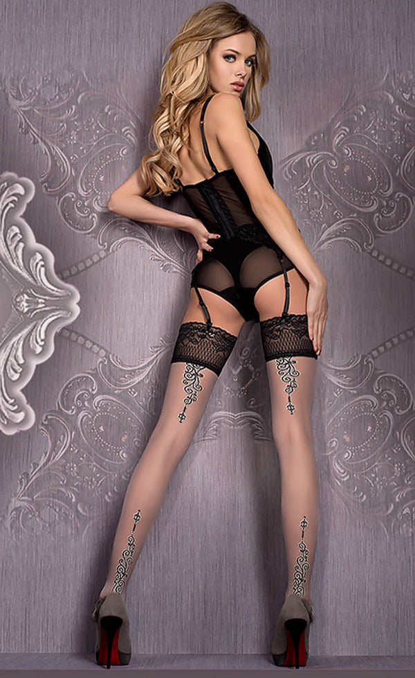 Ballerina 420 Hold ups - Grey and Black
