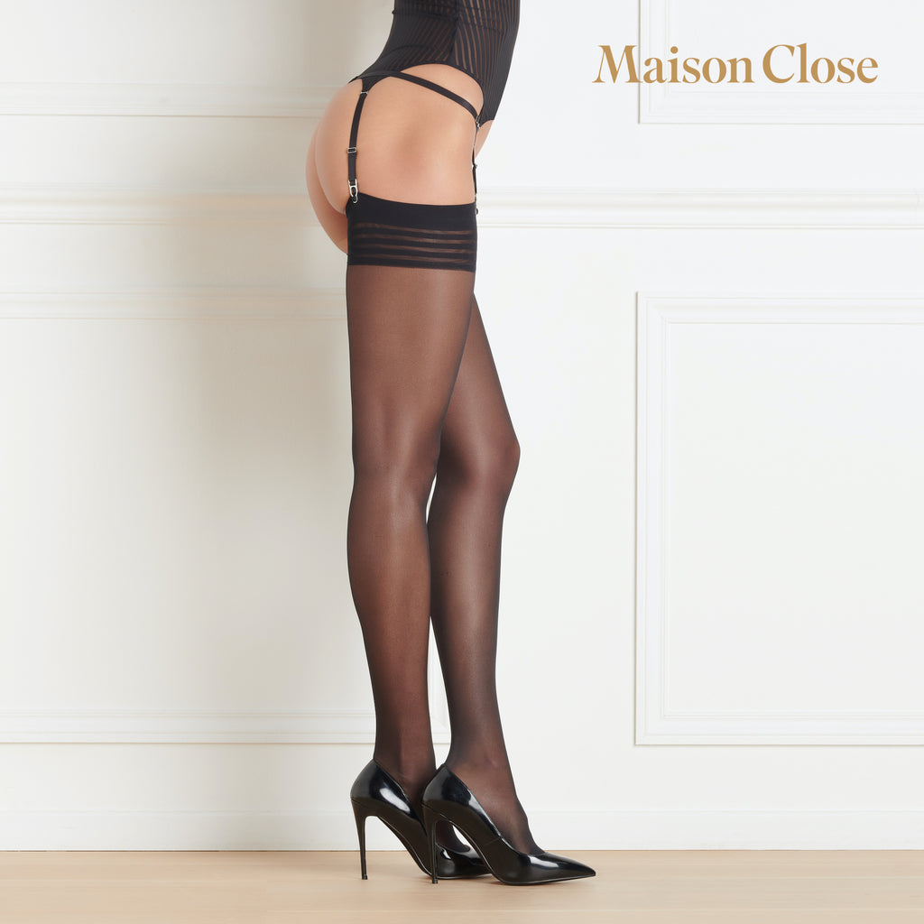 Maison Close Sheer Striped Top Stockings