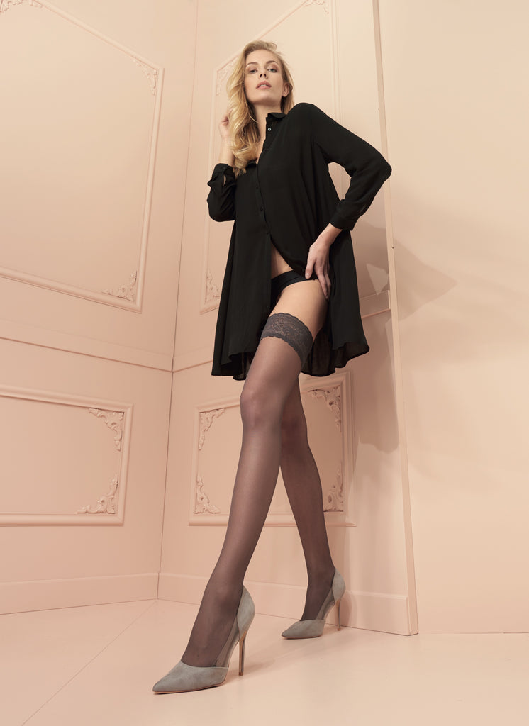 Trasparenze Rosy Lace Top Hold Ups - in grey or red