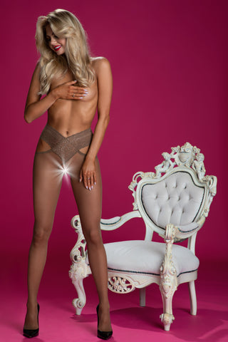 Amour Angel Crotchless Tights - Suntan Beige