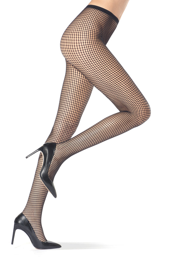 Oroblu Clara Fishnet Tights - in Black or Bordeaux