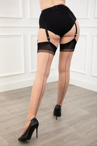 Gio RHT Full Contrast Seamed stockings - Natural / Black