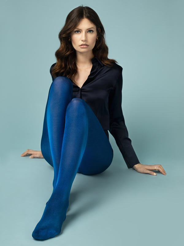 Fiore Glossy Tights - Cobalt