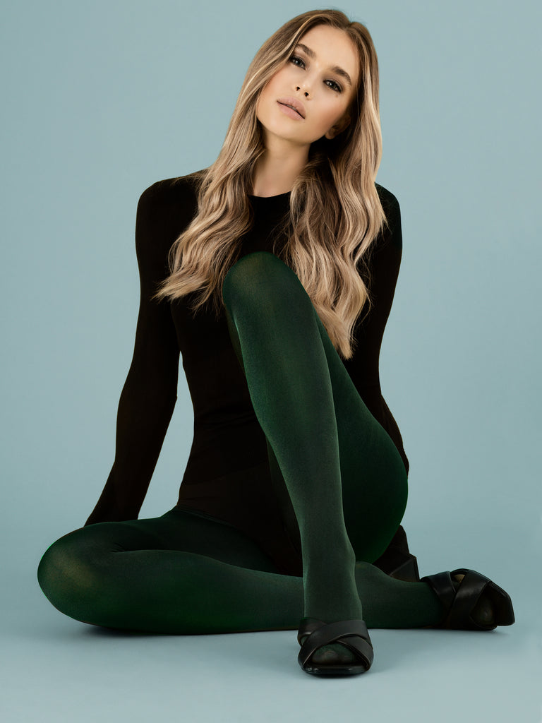 Fiore Glossy Tights - Green