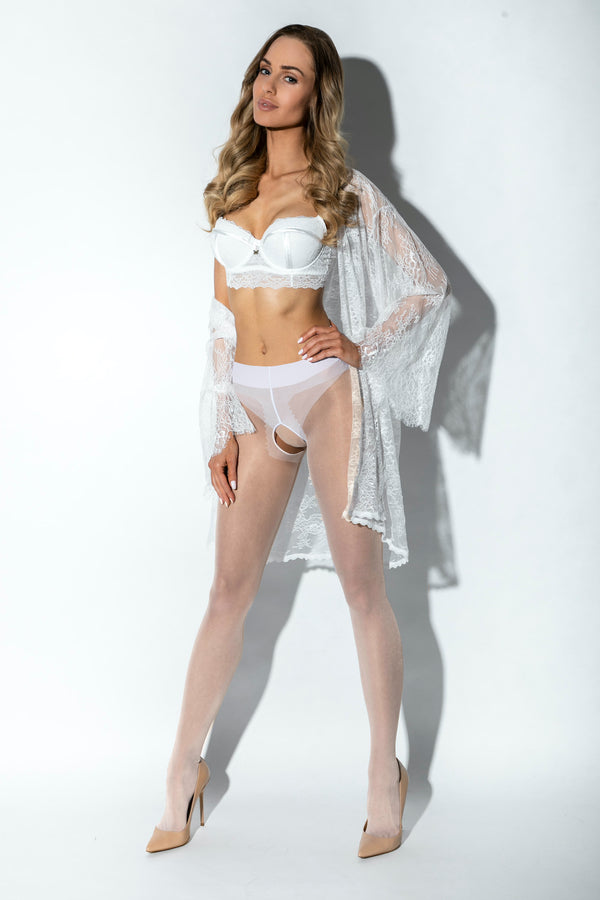 Amour Hip Gloss Crotchless Tights - White