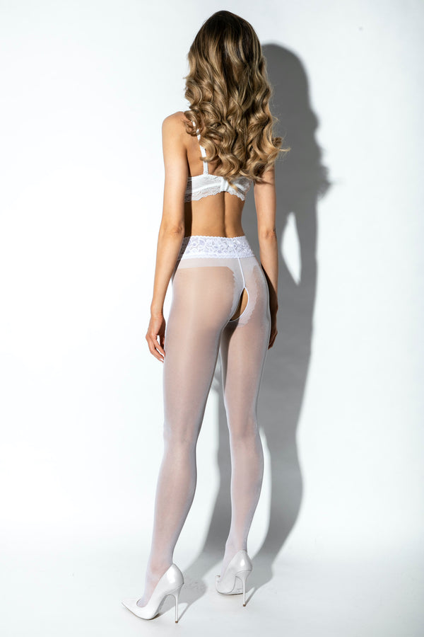 Amour Hip Lace Crotchless Tights - White