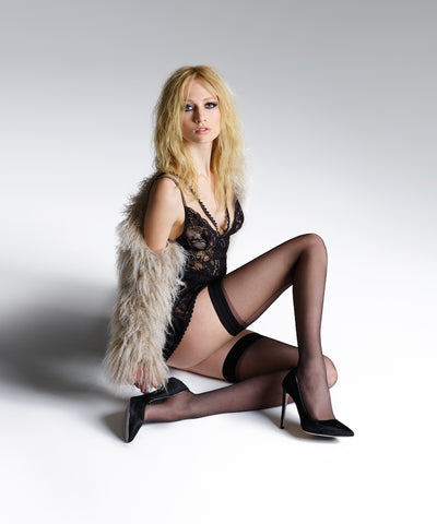 Jonathan Aston - Vintage Black Back Seam & Heel Hold ups