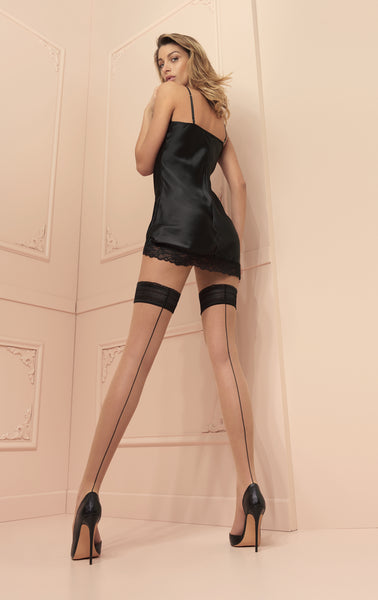 Trasparenze Jessy Seamed Hold Ups - in Nude & black or Black & red