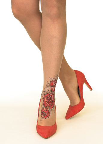 Stop & Stare Red Lace Roses Tattoo Printed Tights