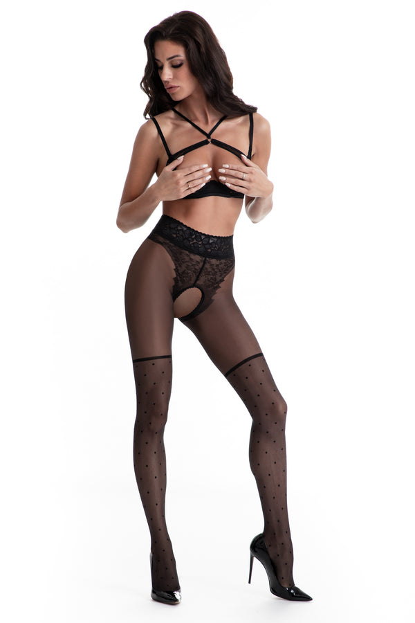 Amour Lolita Crotchless Tights - Black