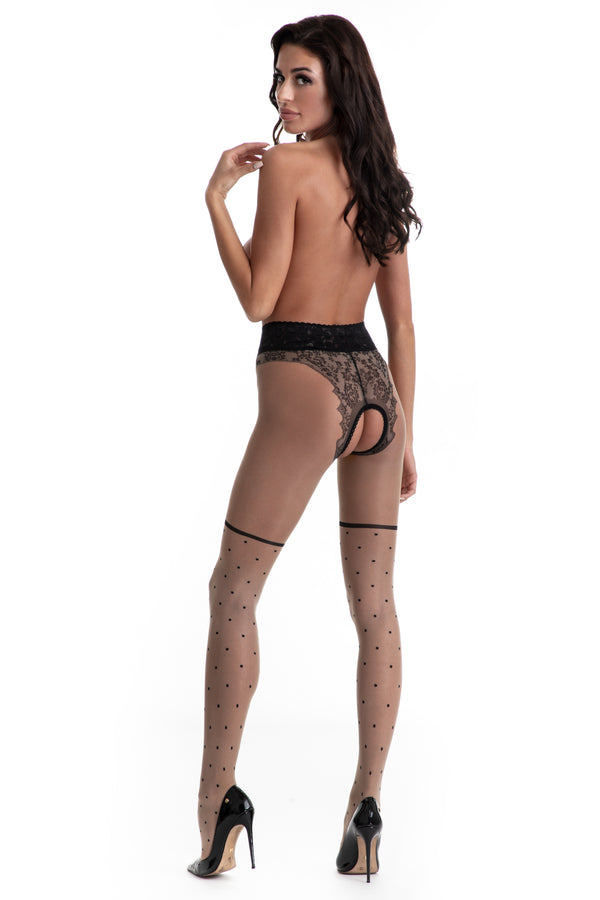 Amour Lolita Crotchless Tights - Beige