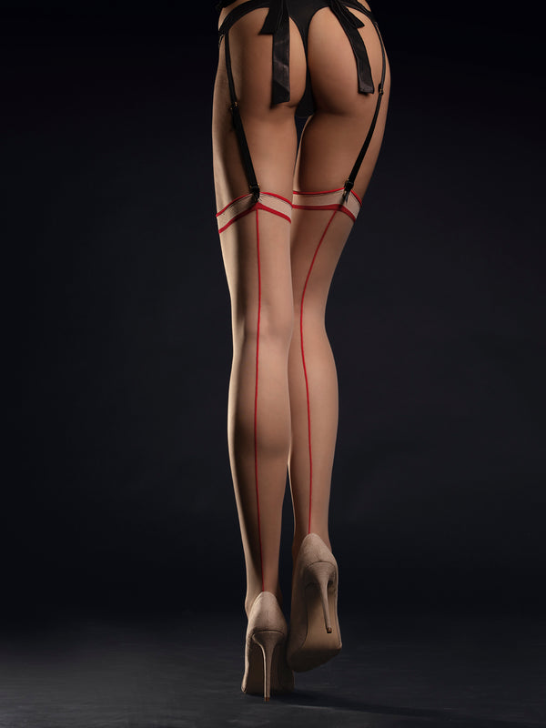 Fiore Madame Stockings - Nude & Red