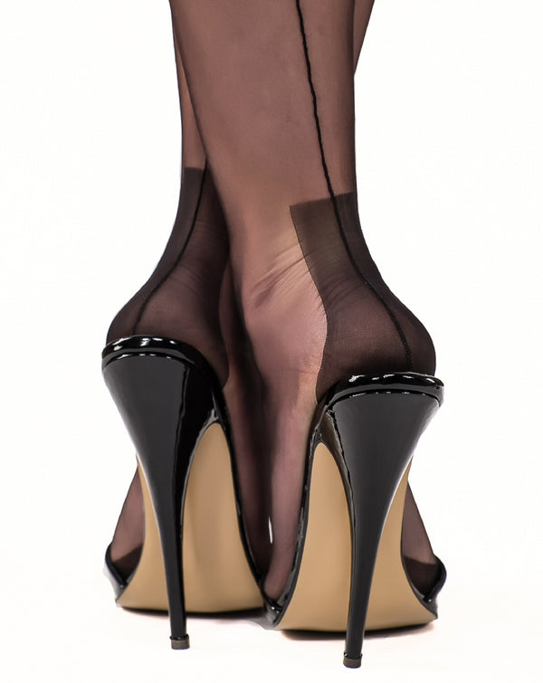 Gio Fully Fashioned Stockings - Havana Heel, Black
