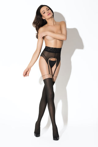 Amour Pin-Up Black/Beige Crotchless Tights