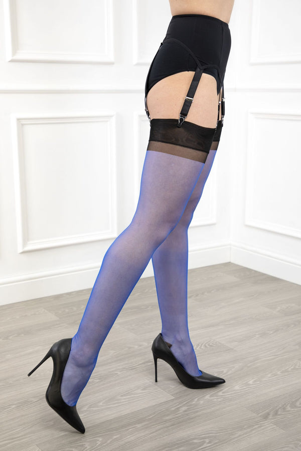 Gio Reinforced Heel and Toe (RHT) Full Contrast Stockings - Electric Blue / Black