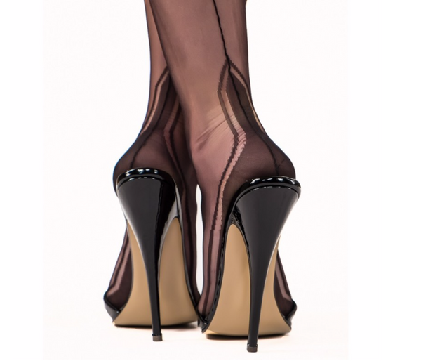 Gio Fully Fashioned Stockings - Manhattan Heel, Chocolate