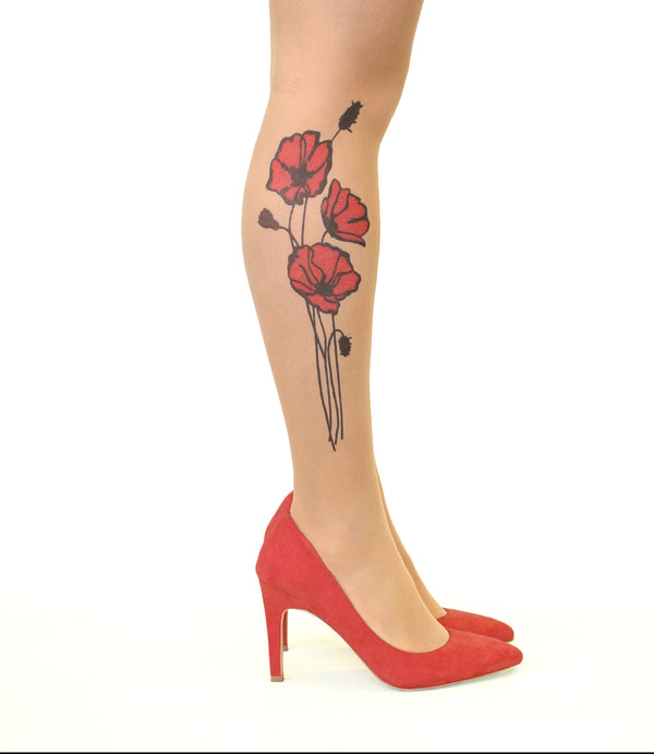 Stop & Stare Red Poppies Tattoo Printed Tights