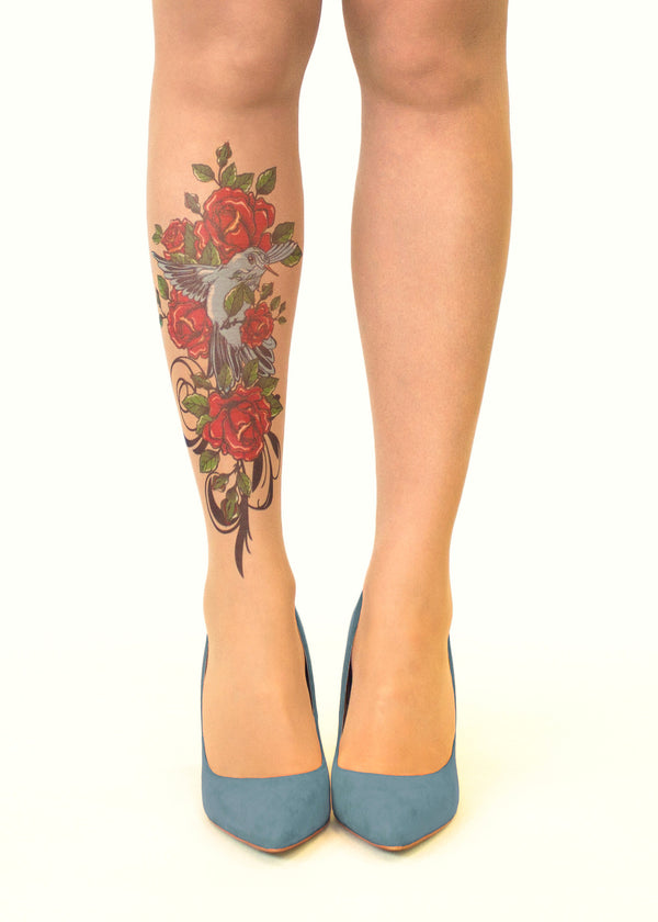 Stop & Stare Tattoo Printed Tights Bird N' Roses