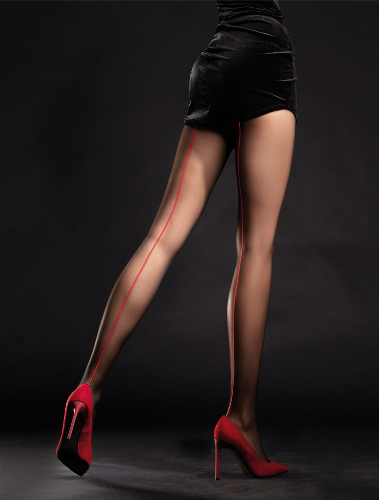 Fiore Unique Tights - Black with red seam