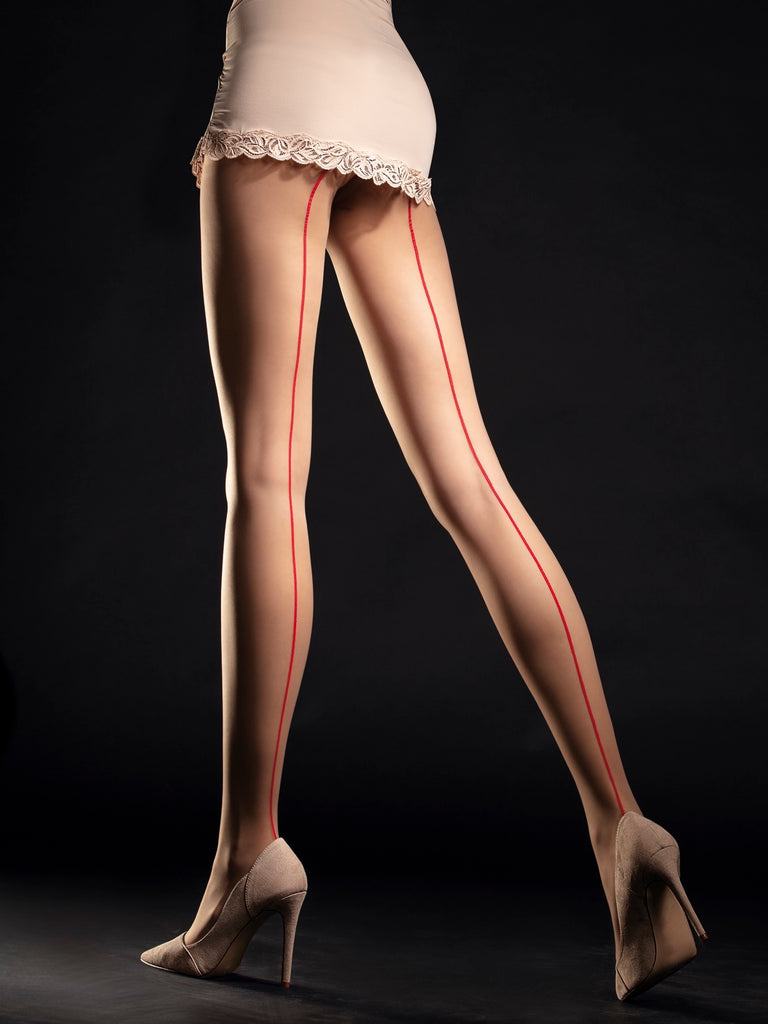 Fiore Unique Tights - Nude with red seam