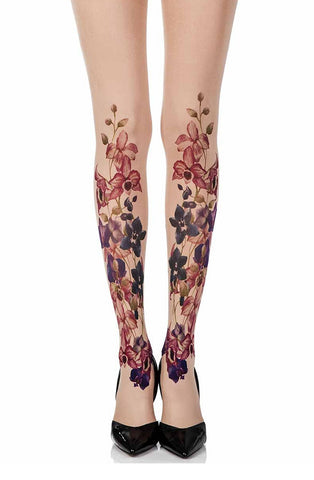 "Zohara ""Should've Bought U Flowers"" Powder Print Tights"