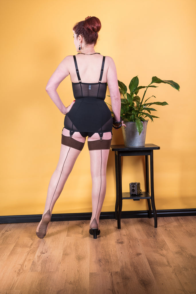 Seamed Stockings Contrast - Coffee H2052
