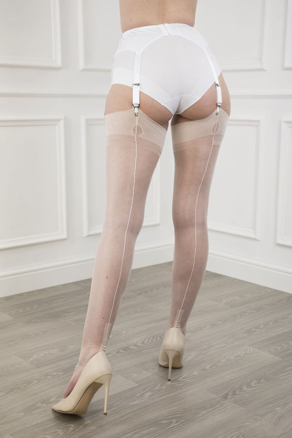 Gio Fully Fashioned Stockings - Cuban Heel, Ivory