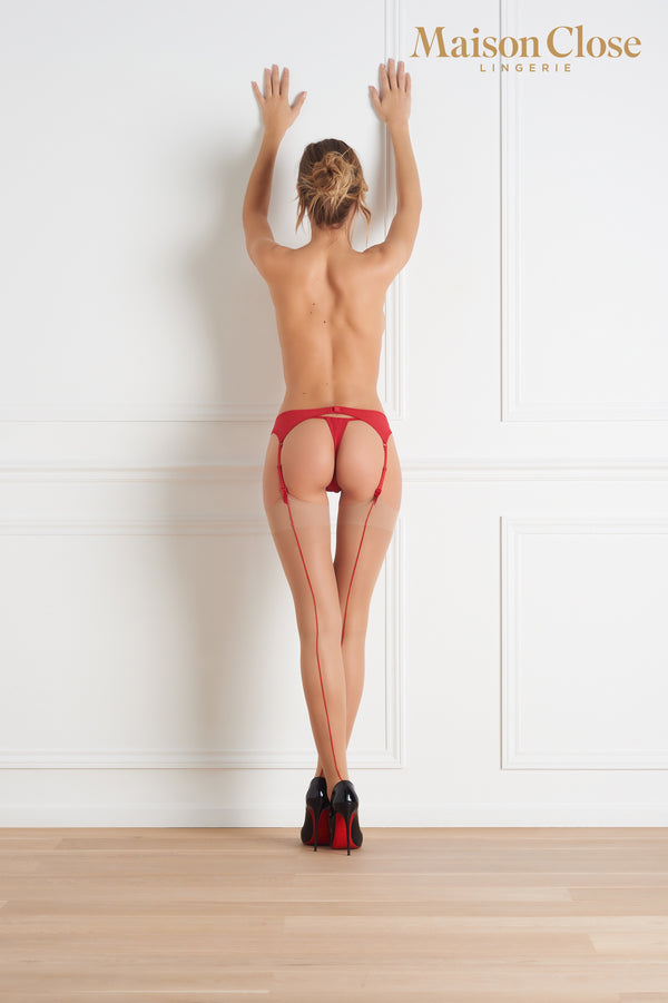 Maison Close Back Seamed Stockings - Nude/Red