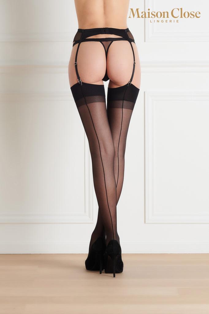 Maison Close Black and Black Seamed Stockings