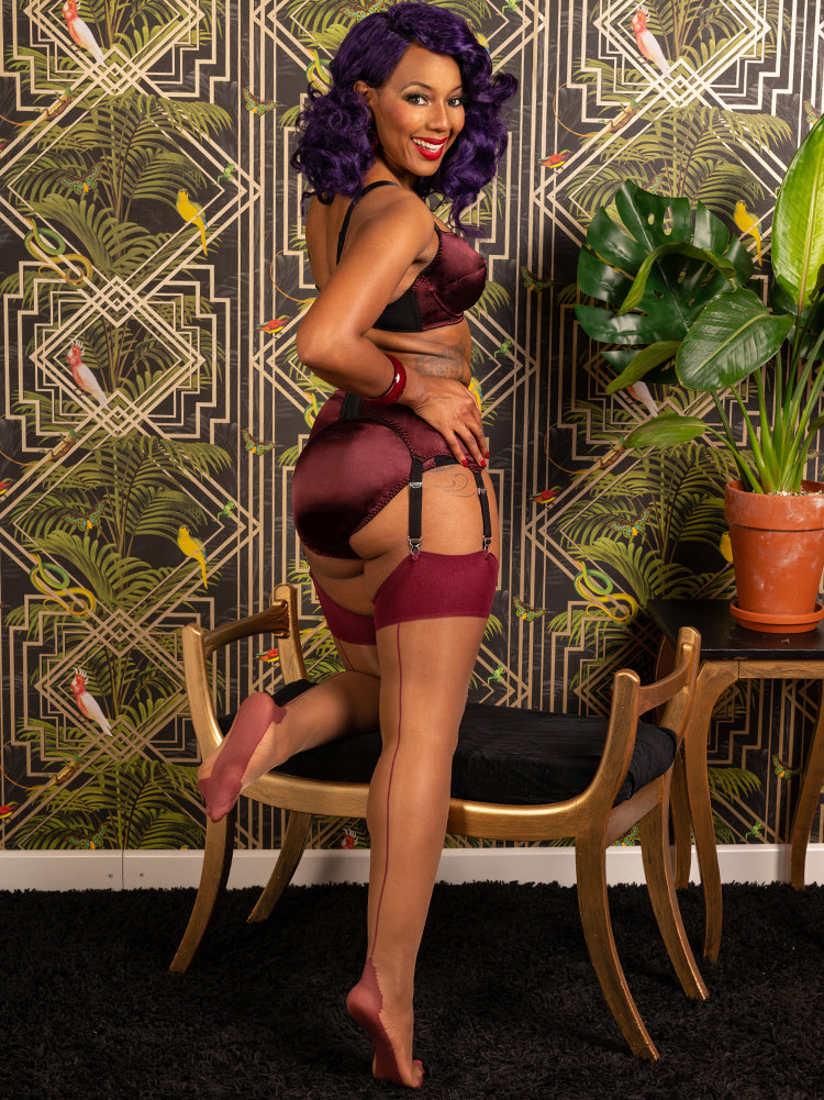 Seamed Stockings Nutmeg Claret Glamour H2056