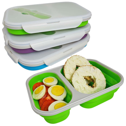 Collapsible Double Compartment Silicone Food Storage Box with Spork
