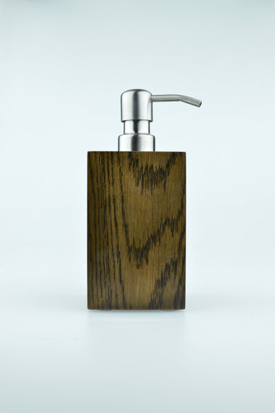 Mezza soap pump in dark oak by wireworks 1