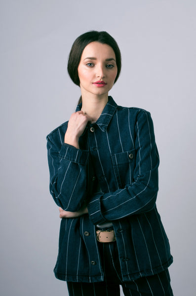 the tommy jacket by bethnals womens in indigo stripe 2