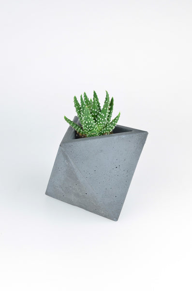octahedron planter from ok concrete in charcoal 1