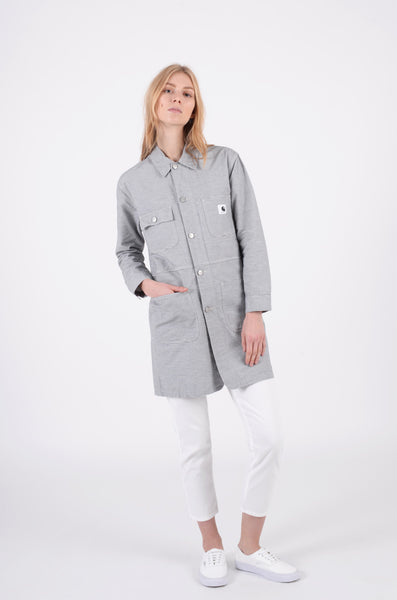 Long chore coat in wax grey by carhartt wip 1