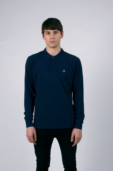 carhartt wip patch longsleeve polo in blue 1