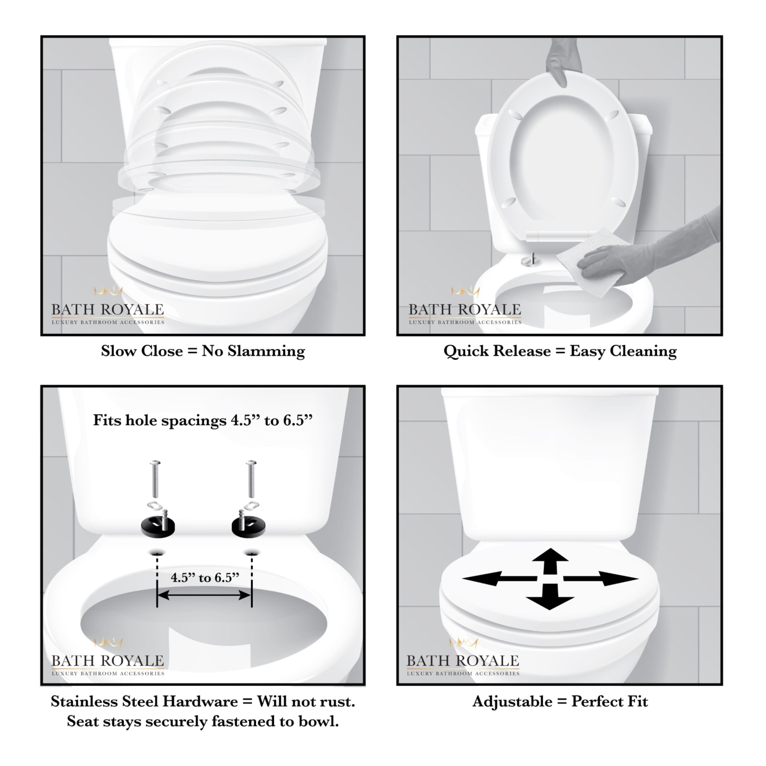 Bath Royale Toilet Seat features