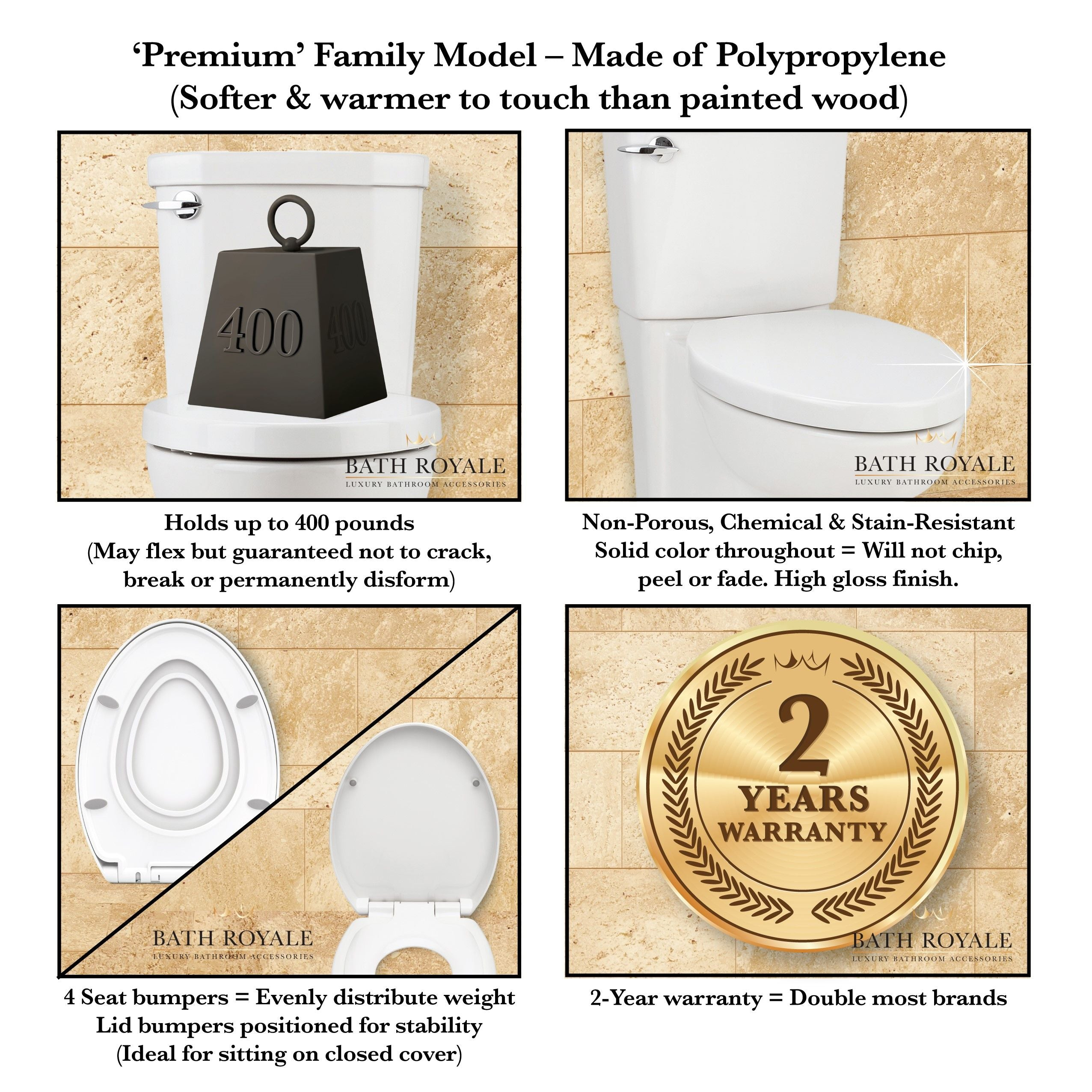 Bath Royale Premium Elongated Family Toilet Seat highlights