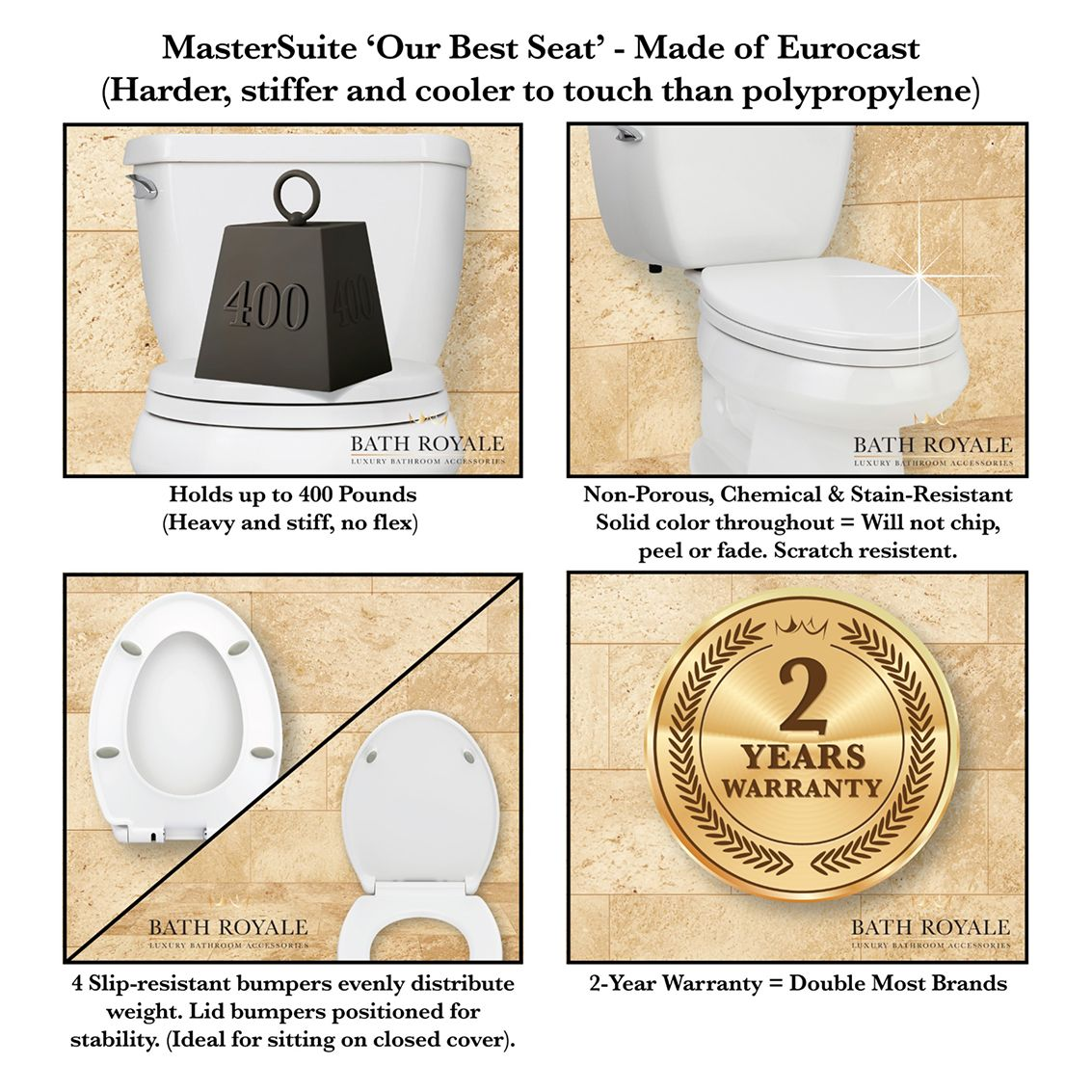 MasterSuite - Our Best Seat - Made of Eurocast for a harder, stiffer toilet seat