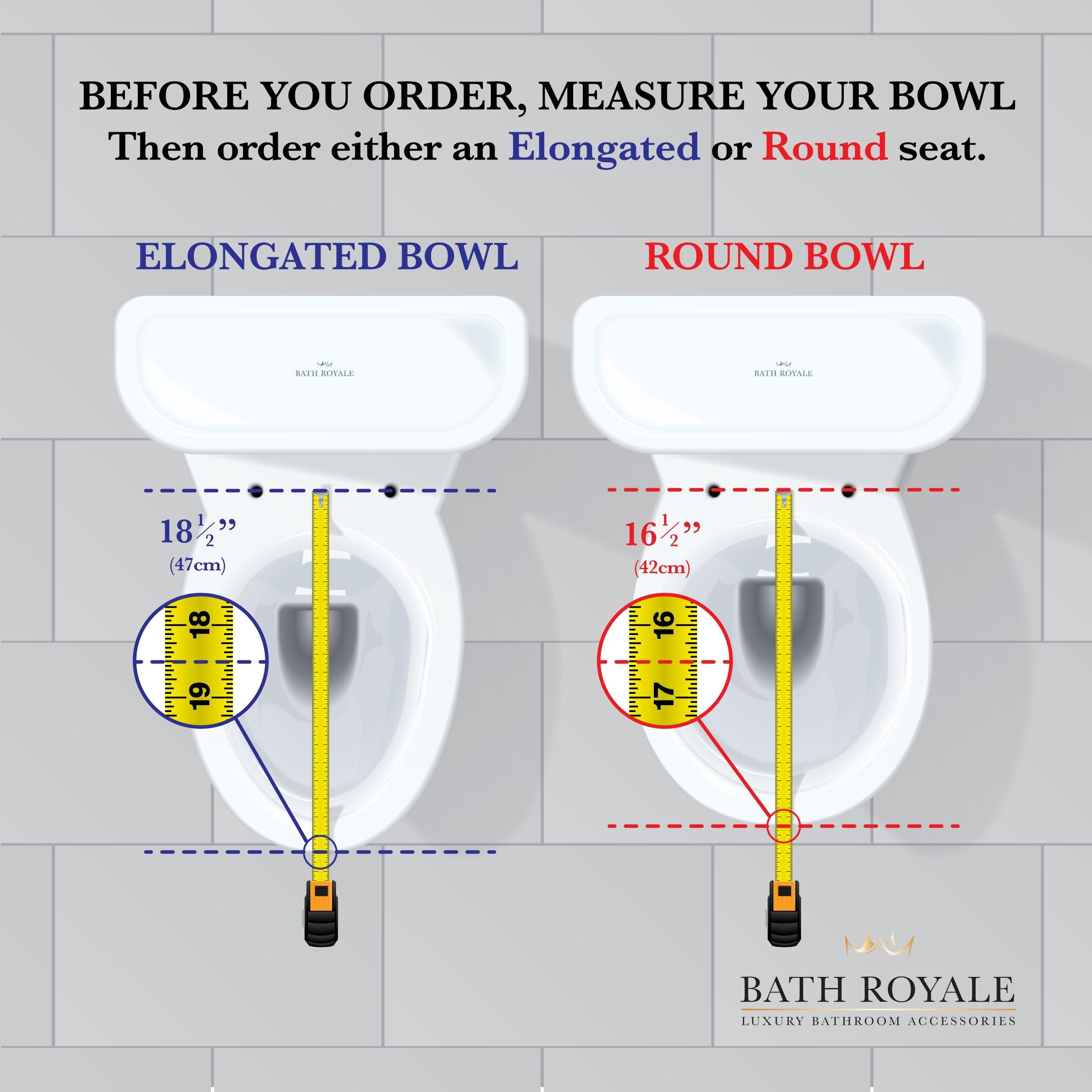Before you order your toilet seat, measure your bowl to determine round or elongated seat