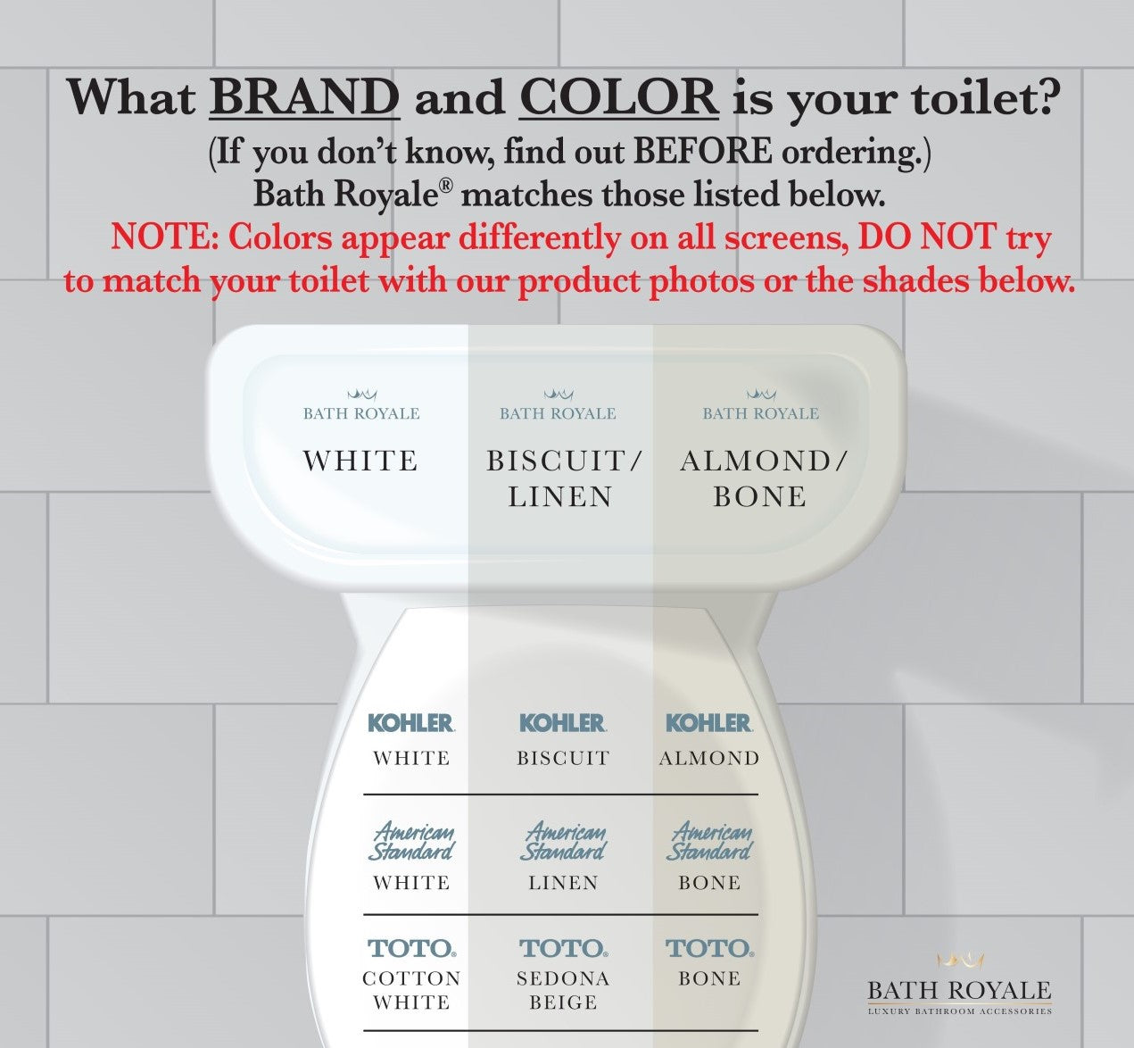 Toilet seat color matching chart