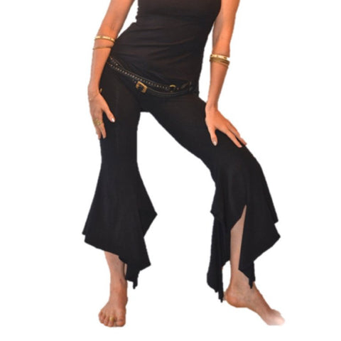 Tribal gypsy pants, flattering and extremely comfortable. With large double V waist band and some curvy lines, they are made of a thicker cotton lycra and give a solid fit. Sustainable, eco-friendly & slow fashion.