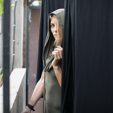 Long maxi dress made of very soft, natural, breathable fiber. With a cowl neck piece that converts into a hood or a shawl. A wardrobe staple. Slow and sustainable fashion.