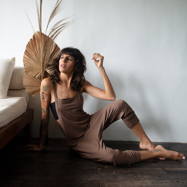 Very soft and comfortable slip-on harem jumpsuit. Perfect for yoga & dance class, or simply lounging around the house. _ Bamboo Lycra (90% Certified Oeko-tex Bamboo / 10% Lycra)