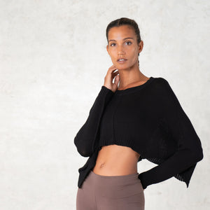 Black bamboo crop top.  Eco sustainable fashion.