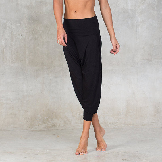 Very soft and comfortable harem pants made of bamboo. Front Pockets, Low crouch, Fold over waist band. Can be worn high waisted or low waist. Slow and sustainable fashion.