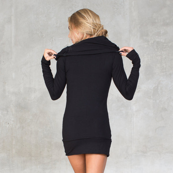 Bamboo tunic with cowl neck & satin details around hood and pockets. Sustainable, eco-friendly & slow fashion.