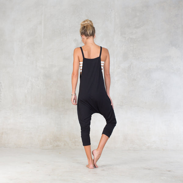 Very soft and comfortable slip-on harem jumpsuit. Perfect for yoga & dance class, or simply lounging around the house. Bamboo Lycra (90% Certified Oeko-tex Bamboo / 10% Lycra). Slow, eco-friendly and sustainable fashion.
