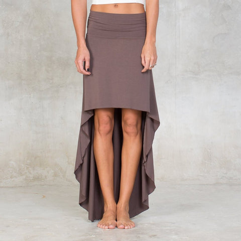 Soft high low skirt made of certified Oeko-Tex Satndard 100 bamboo with lycra.  Featuring a large banded waist, a high-low cut & pull-on construction.  Can be worn high waisted or folded over for a low waist fit. Slow and sustainable fashion.